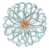 French Blue Flower Metal Wall Decor